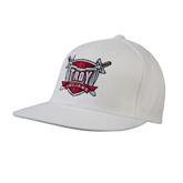 White OttoFlex Flat Bill Pro Style Hat-Troy Trojans Shield