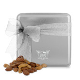 Deluxe Nut Medley Silver Medium Tin-Troy Trojans Shield Engraved