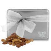 Deluxe Nut Medley Silver Large Tin-Troy Trojans Shield Engraved