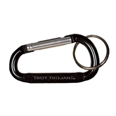 Black Carabiner with Split Ring-Troy Trojans Engraved
