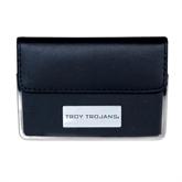 Leather Black Business Card Case-Troy Trojans Engraved