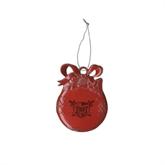 Red Bulb Ornament-Troy Trojans Shield Engraved