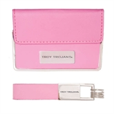 Business Card Case and Key Ring Set Pink-Troy Trojans Engraved