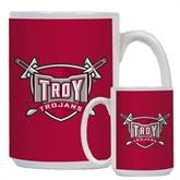 Full Color White Mug 15oz-Troy Trojans Shield