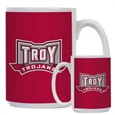 Full Color White Mug 15oz-Troy Trojans Wide Shield