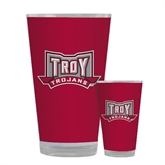 Full Color Glass 17oz-Troy Trojans Wide Shield