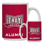 Alumni Full Color White Mug 15oz-Troy Trojans Wide Shield