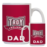 Dad Full Color White Mug 15oz-Troy Trojans Wide Shield