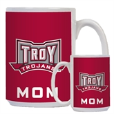 Mom Full Color White Mug 15oz-Troy Trojans Wide Shield