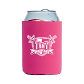 Collapsible Hot Pink Can Holder-Troy Trojans Shield