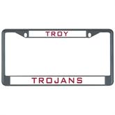 Metal License Plate Frame in Black-Troy Trojans