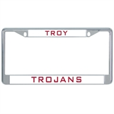 Metal License Plate Frame in Chrome-Troy Trojans