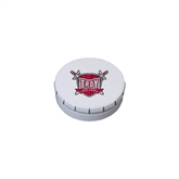 White Round Peppermint Clicker Tin-Troy Trojans Shield
