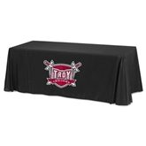 Black 8 foot Table Throw-Troy Trojans Shield