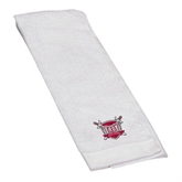 White Golf Towel-Troy Trojans Shield