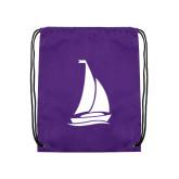Purple Drawstring Backpack-Sailboat