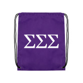 Purple Drawstring Backpack-Greek Letters - One Color