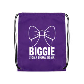 Purple Drawstring Backpack-Biggie Bow