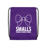 Purple Drawstring Backpack-Smalls Bow