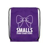 Purple Drawstring Backpack-Smalls Bow