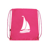 Pink Drawstring Backpack-Sailboat