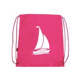 Pink Drawstring Backpack-Sailboat