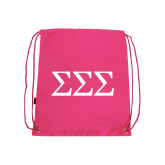 Pink Drawstring Backpack-Greek Letters - One Color