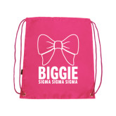 Pink Drawstring Backpack-Biggie Bow