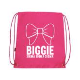 Pink Drawstring Backpack-Biggie Bow
