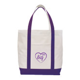 Contender White/Purple Canvas Tote-Big in Heart