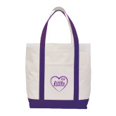 Contender White/Purple Canvas Tote-Little in Heart