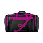 Black/Tropical Pink Gear Bag-Glitter Greek Style Letters