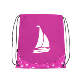 Nylon Pink Bubble Patterned Drawstring Backpack-Sailboat