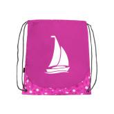 Nylon Pink Bubble Patterned Drawstring Backpack-Sailboat