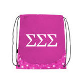 Nylon Pink Bubble Patterned Drawstring Backpack-Greek Letters - One Color