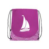 Nylon Zebra Pink/White Patterned Drawstring Backpack-Sailboat