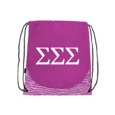 Nylon Zebra Pink/White Patterned Drawstring Backpack-Greek Letters - One Color