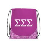 Nylon Zebra Pink/White Patterned Drawstring Backpack-Greek Letters - One Color