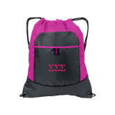Nylon Pink Raspberry/Deep Smoke Pocket Drawstring Backpack-Greek Letters - One Color