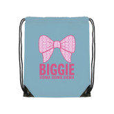 Light Blue Drawstring Backpack-Biggie Bow