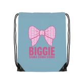 Light Blue Drawstring Backpack-Biggie Bow