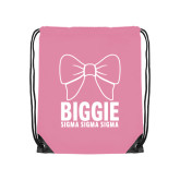 Light Pink Drawstring Backpack-Biggie Bow