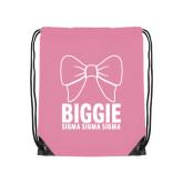 Light Pink Drawstring Backpack-Biggie Bow