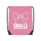 Light Pink Drawstring Backpack-Smalls Bow