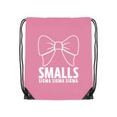Light Pink Drawstring Backpack-Smalls Bow