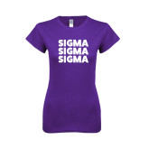 Next Level Ladies SoftStyle Junior Fitted Purple Tee-Stacked Sigma Sigma Sigma
