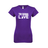 Next Level Ladies SoftStyle Junior Fitted Purple Tee-Tri Sigma Love