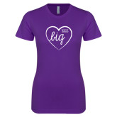 Next Level Ladies SoftStyle Junior Fitted Purple Tee-Big in Heart