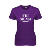 Ladies Purple T Shirt-Tri Sigma Empowered
