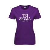 Ladies Purple T Shirt-Tri Sigma Empowered